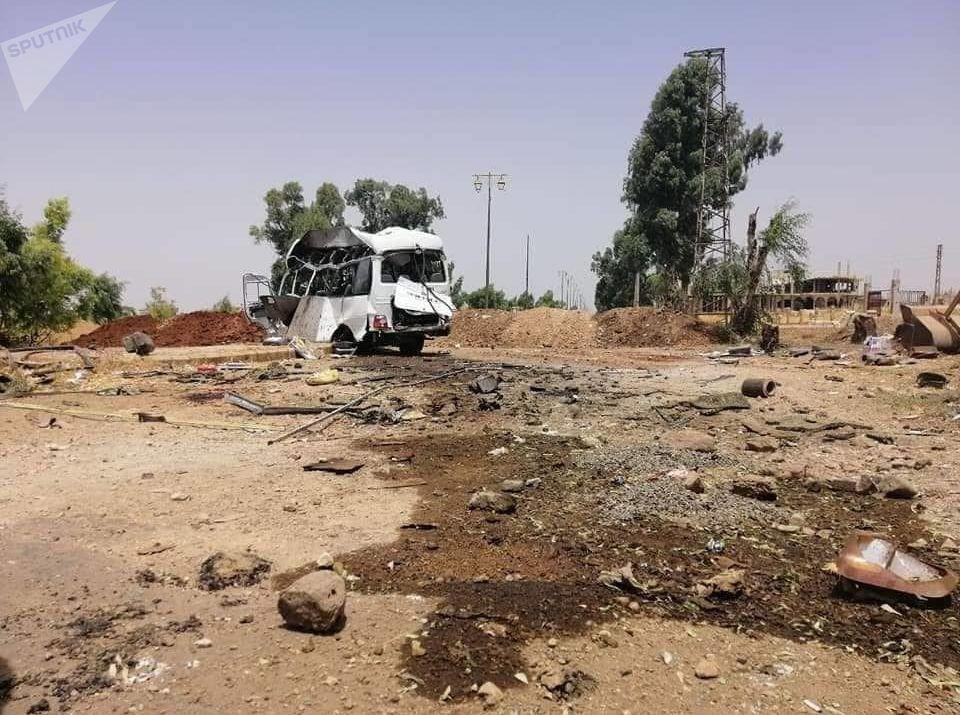 موقع التفجير في اليادودة، سوريا