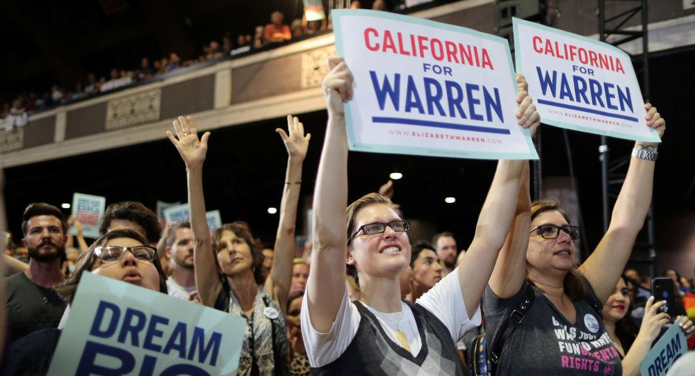 مؤتمر انتخابي للسيناتور الأمريكية إليزابيث وارن