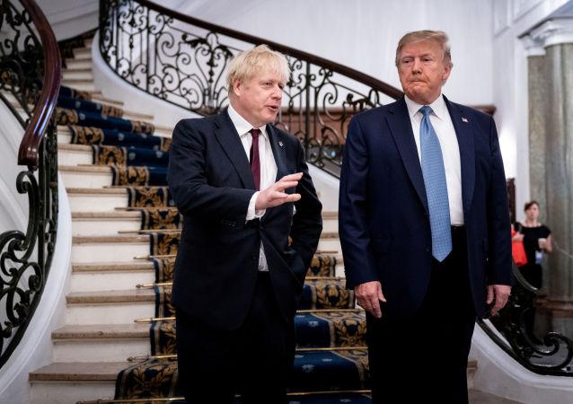 الرئيس الأمريكي دونالد ترامب ورئيس الوزراء البريطاني بوريس جونسون على هامش اجتماعهما في قمة مجموعة السبع في فرنسا، 25 أغسطس/آب 2019