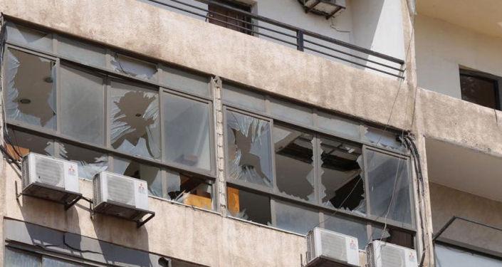 المركز الإعلامي لحزب الله اللبناني بعد تعرضه لانفجار الطائرة الإسرائيلية المسيرة