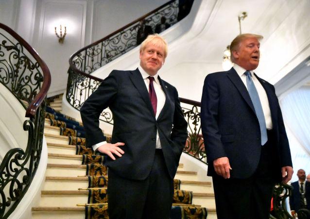 الرئيس الأمريكي دونالد ترامب ورئيس وزراء بريطانيا بوريس جونسون في قمة مجموعة السبع في فرنسا، 25 أغسطس/آب 2019