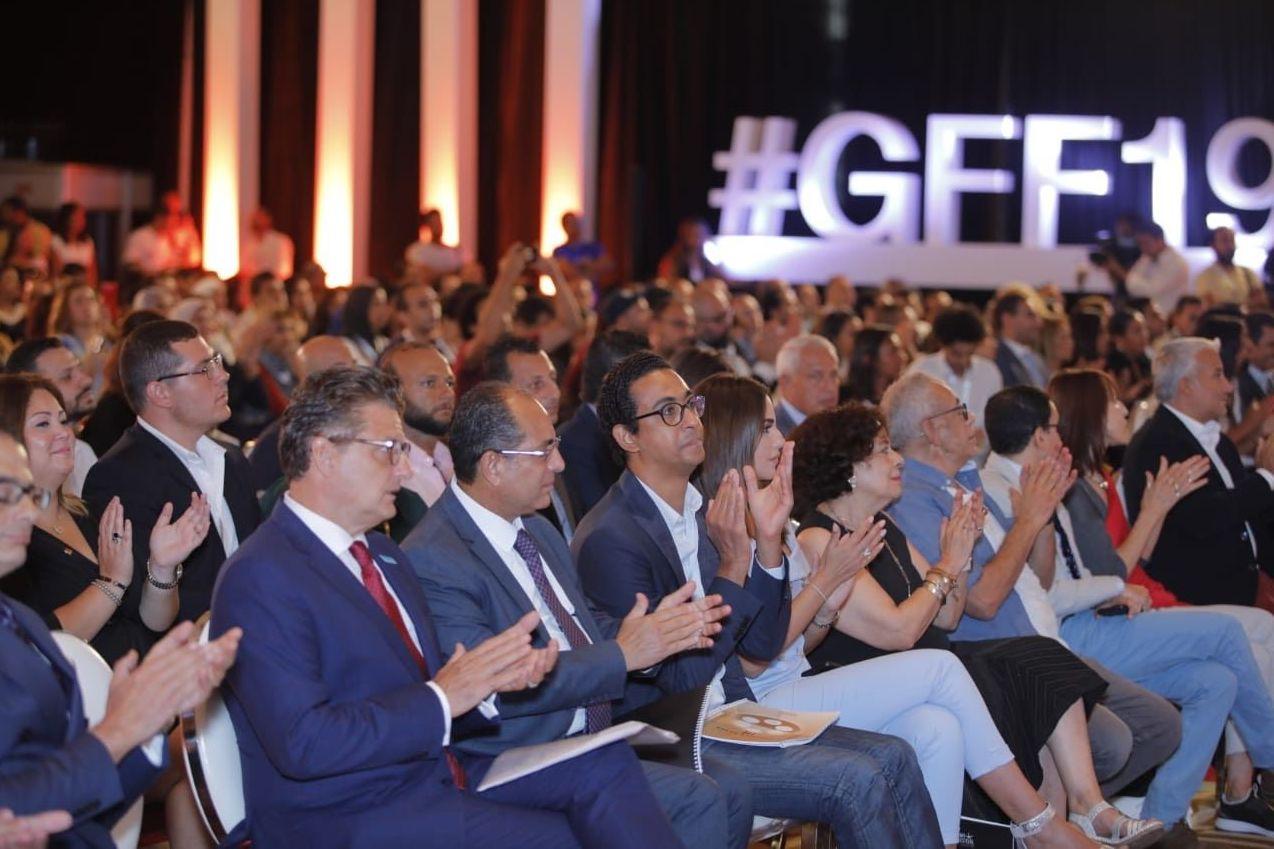 جانب من حضور مؤتمر الدورة الثالثة لمهرجان الجونة السينمائي، القاهرة، 26 أغسطس/آب 2019
