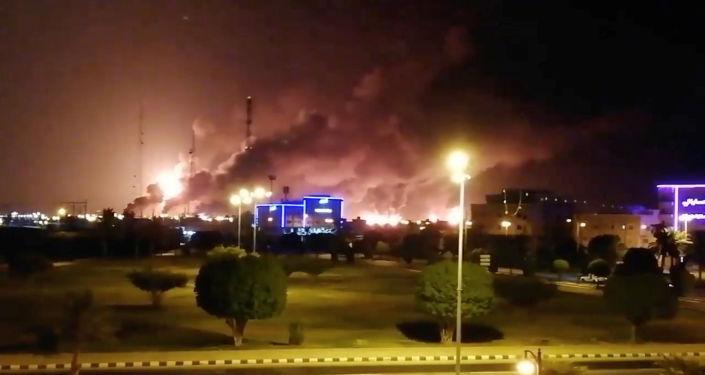 حريق في منشأة أرامكو السعودية بعد قصف طائرات مسيرة من قبل أنصار الله