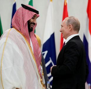 الرئيس فلاديمير بوتين وولي العهد السعودي محمد بن سلمان، 28 يونيو 2019