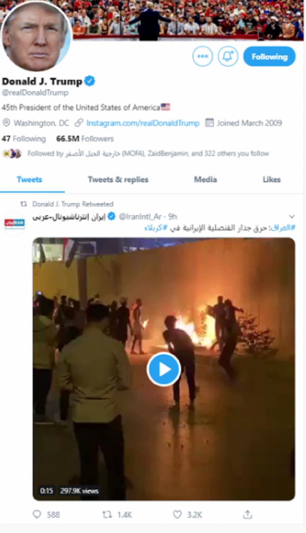 ترامب يعيد نشر تغريدة بالعربية