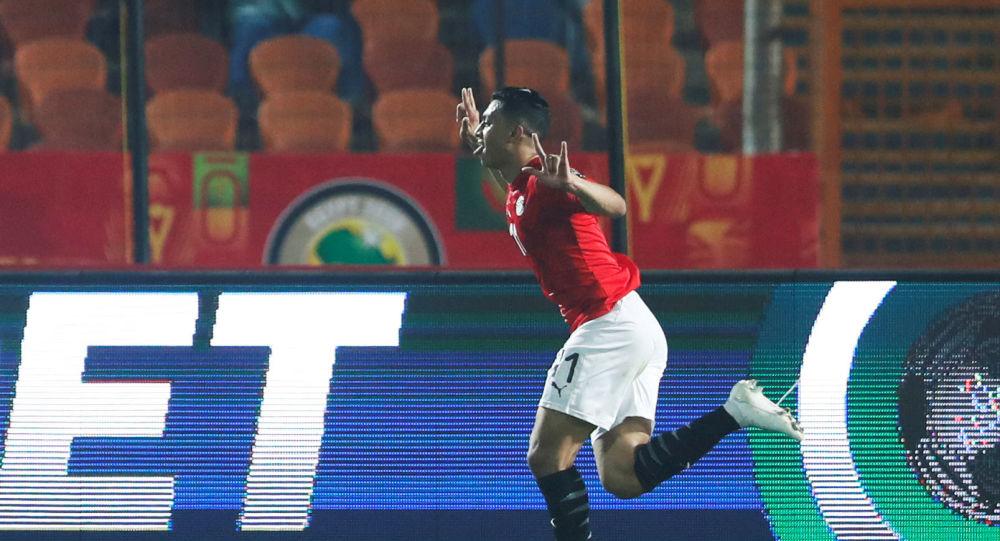 مصطفى محمد لاعب المنتخب الأوليمبى المصري يحتفل بهدف فريقه الأول أمام مالي، كأس الأمم الأفريقية تحت 23 سنة، 8 نوفمبر 2019