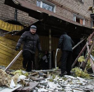آثار القصف في دونيتسك