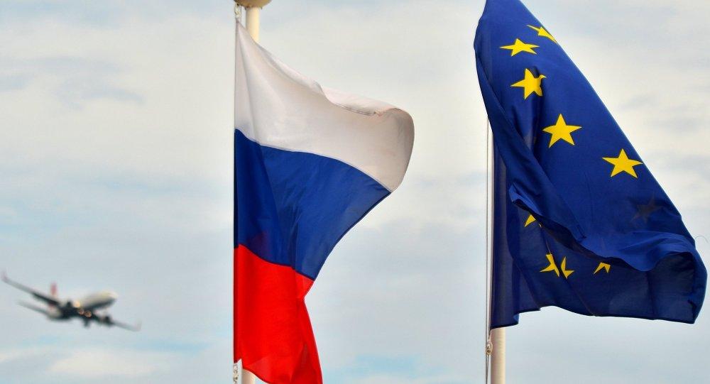 علم روسيا والاتحاد الأوروبي