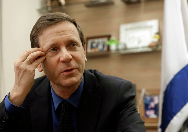 Isaac Herzog, a newly elected leader of the Labor Party gestures during an interview in his office in Jerusalem, Wednesday, Dec. 11, 2013
