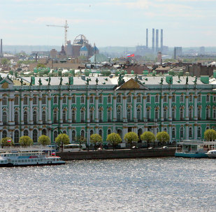 A view of the Winter Palace from the bell tower of the Peter and Paul Fortress