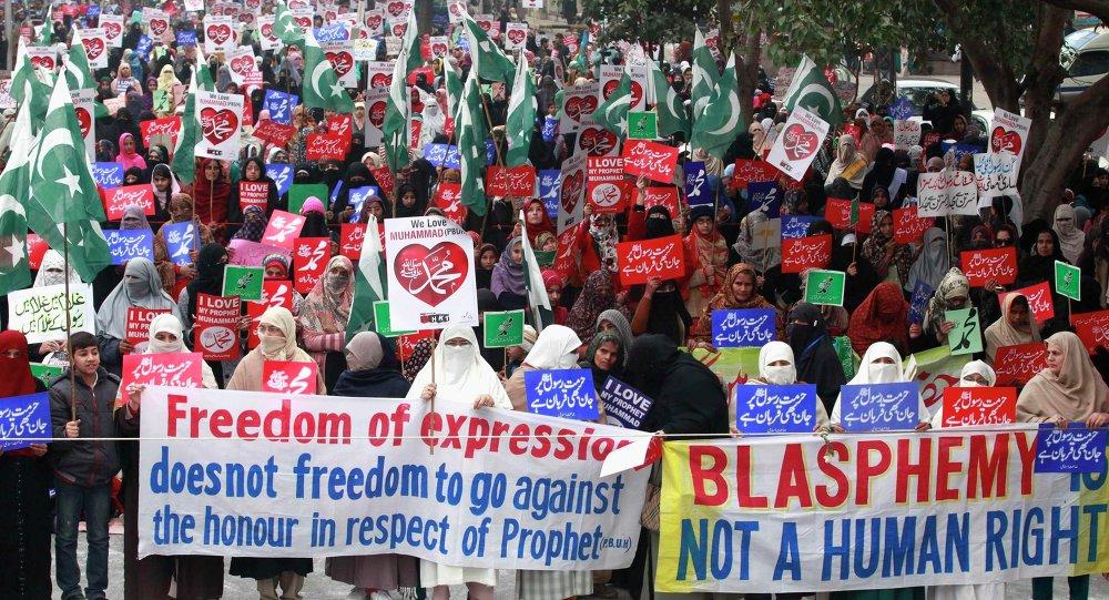 مظاهرة احتجاجية مناوئة لنشر الرسوم المسيئة للرسول