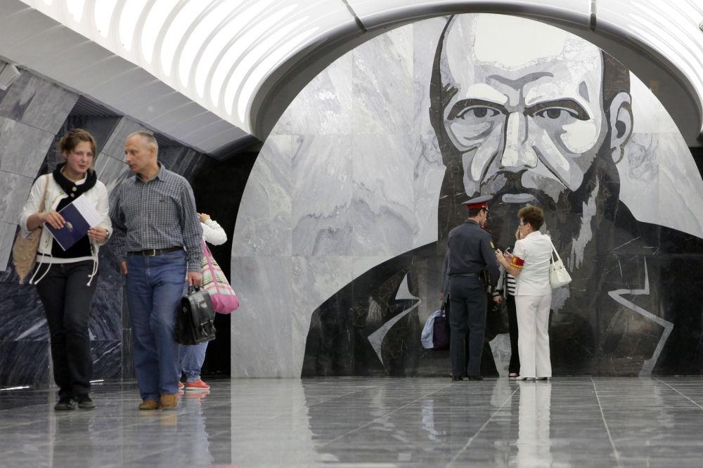 محطة دوستويفسكايا التي سُميت بإسم الكاتب الروسي الشهير فيودور دوستويفسكي