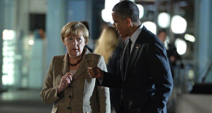 الرئيس الأمريكي باراك أوباما والمستشارة الألمانية انجيلا ميركل