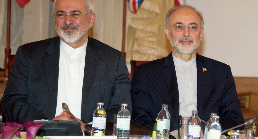 رئيس منظمة الطاقة الذرية الإيرانية علي أكبر صالحي ووزير الخارجية الإيرانية محمد جواد ظريف