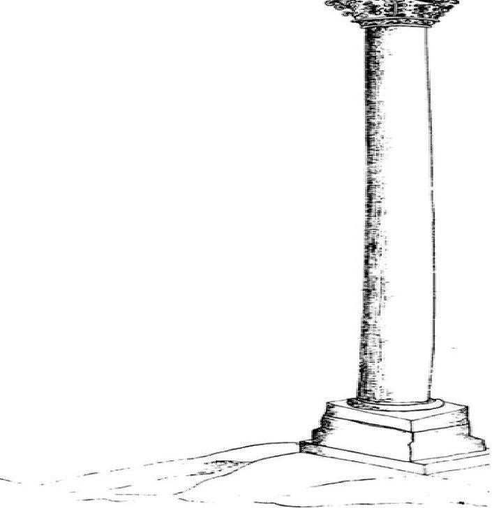 رسم لعامود بومباي ، الإسكندرية ، يرجع لعام 1730م ، جريجوريفيتش-بارسكي