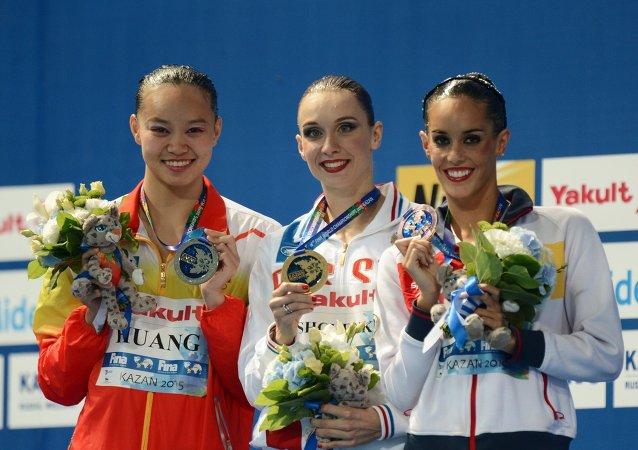 ناتاليا إيشينكو في بطولة العالم للألعاب المائية في قازان