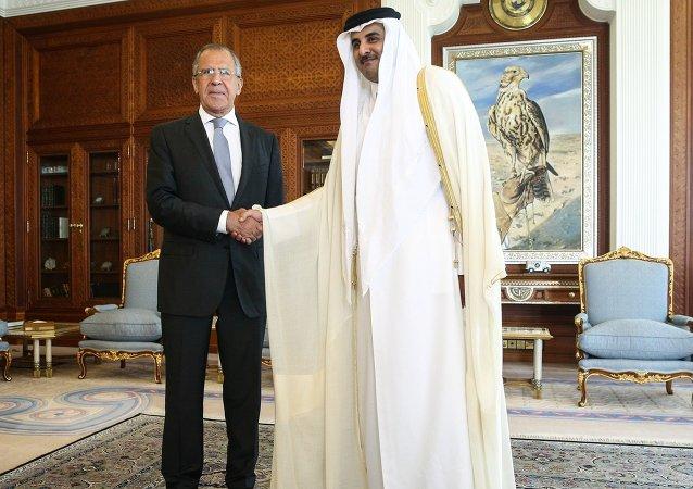 الأمير تميم بن حمد يستقبل سيرغي لافروف