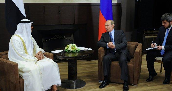 لقاء الرئيس الروسي فلاديمير بوتين وولي عهد أبوظبي ونائب القائد الأعلى للقوات المسلحة لدولة الإمارات العربية المتحدة، محمد بن زايد آل نهيان