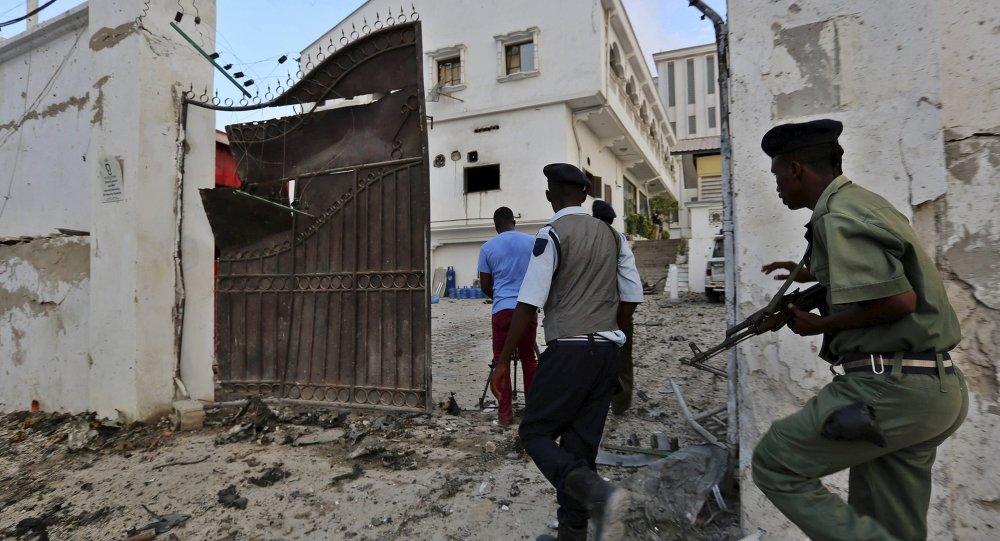 الشرطة الصومالية بعد حادث ارهابي لحركة الشباب في مارس الماضي