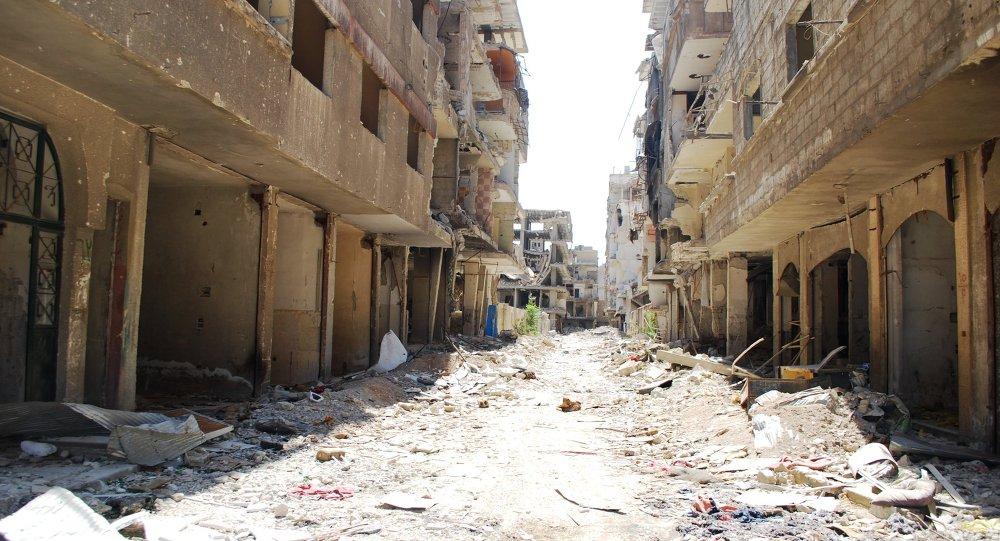 حي في دمشق عقب الاشتباكات