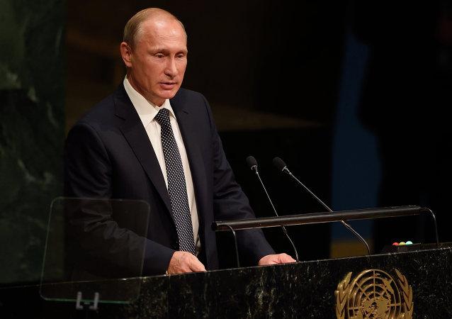 فلاديمير بوتين أثناء خطابه أما الجمعية العامة في نيويورك