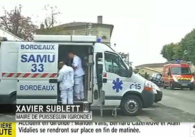 فرنسا ...حادث اصطدام شاحنة بحافلة ركاب