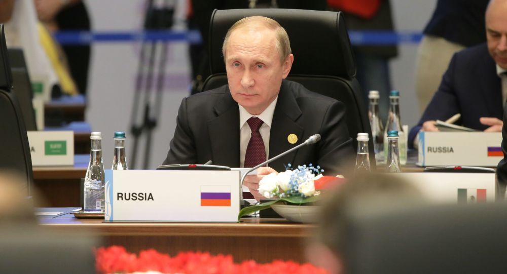 الرئيس الروسي فلاديمير بوتين أثناء مشاركته في قمة العشرين بتركيا