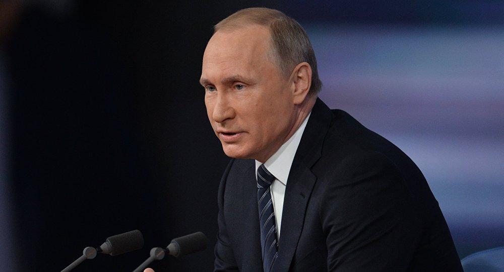 الرئيس فلاديمير بوتين أثناء المؤتمر الصحفي في موسكو