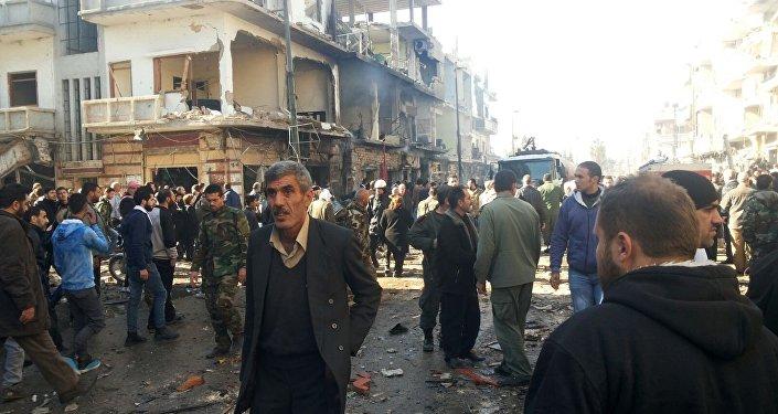 تفجيرات بحي الزهراء وسط مدينة حمص السورية