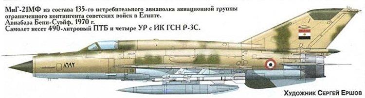 طائرة من طراز ميغ 21 تابعة للقوات السوفيتية فى مصر مرسوم عليها العلم المصري