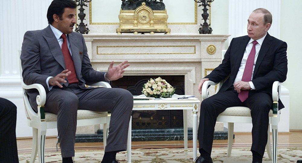 محادثات بين الرئيس الروسي بوتين وأمير قطر