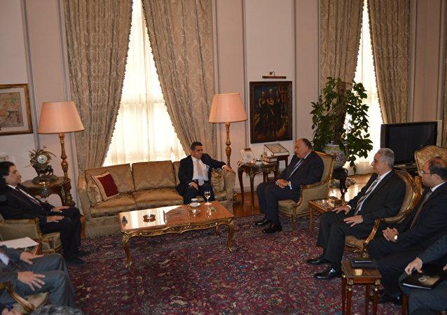 وزير الخارجية المصري شكري ونظيره الليبي الدايري