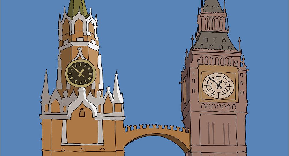 رسم يصور أهم رمز لموسكو ولندن