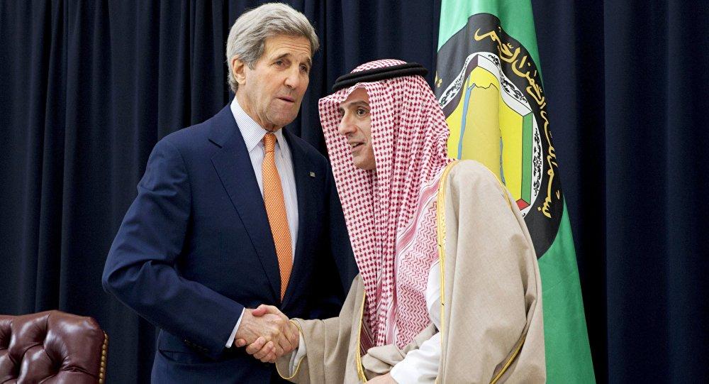 وزير الخارجية الأمريكي ونظيره السعودي  جون كيري وعادل الجبير