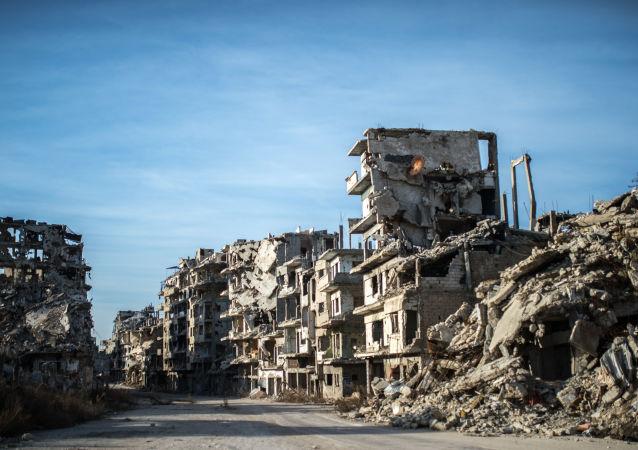 ركام المنازل في المدينة القديمة حمص، سوريا
