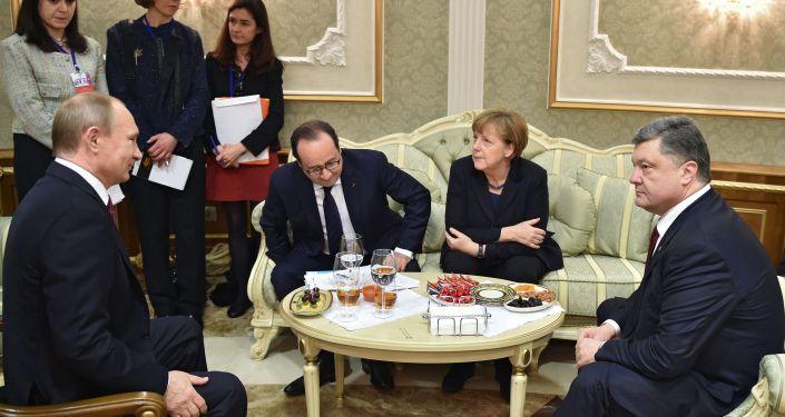 مباحثات رؤساء روسيا وفرنسا وألمانيا وأوكرانيا في مينسك