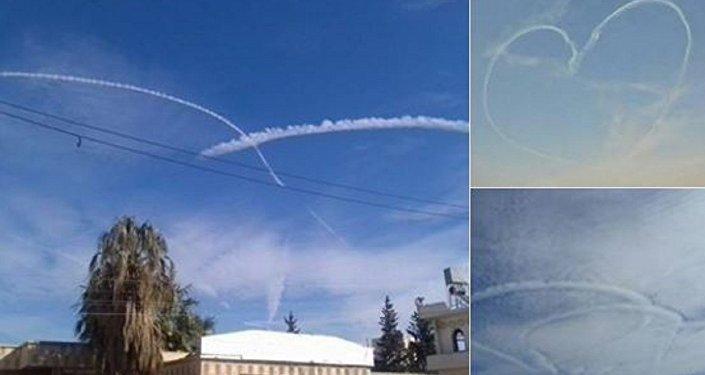الطيارون الروس يرسمون القلوب فى سماء سوريا