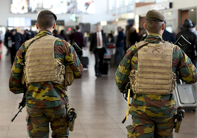 Military police soldiers patrol the Brussels Airport on in Zaventem, eastern Brussels (File)