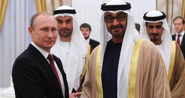 لقاء الرئيس الروسي فلاديمير بوتين وولي عهد أبو ظبي محمد بن زايد آل نهيان