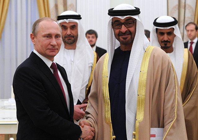 لقاء الرئيس الروسي فلاديمير بوتين وولي عهد أبو ظبي محمد بن زايد آل نهيان(أرشيفية)