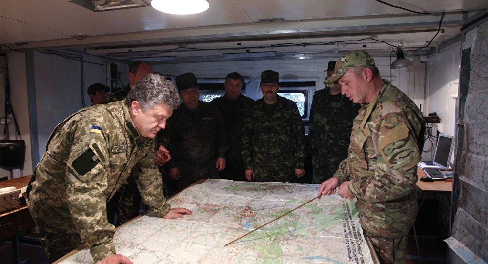 بوروشينكو يزور مقر الحرس الوطني في مقاطعة دونيتسك