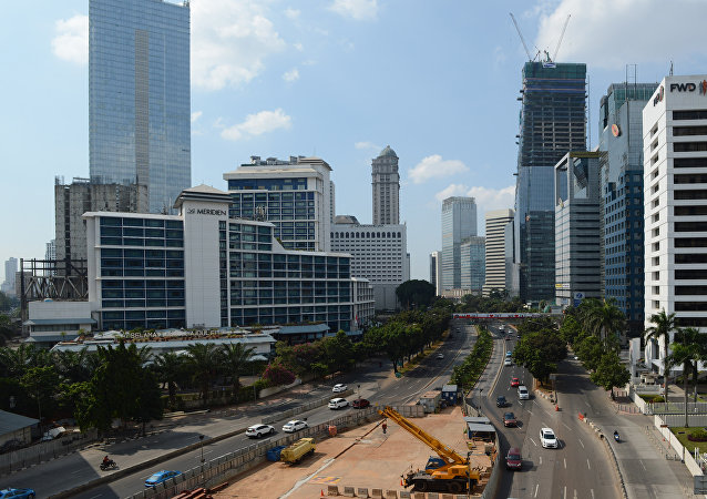 A general view shows Jakarta's central Sudirman road with a small amount of traffic