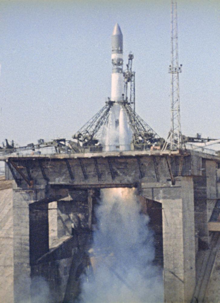 المركبة الفضائية فوستوك-1 قبيل إنطلاق المركبة