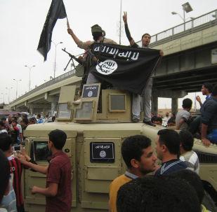 مسلحي داعش يحملون علم التنظيم فى العراق بالفلوجة