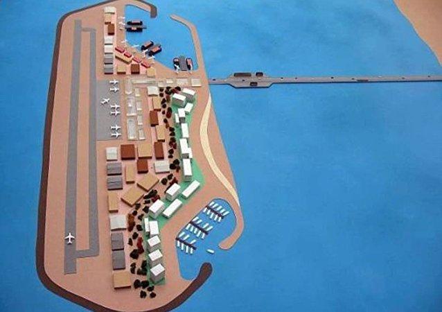جزيرة اصطناعية بالقرب من قطاع غزة