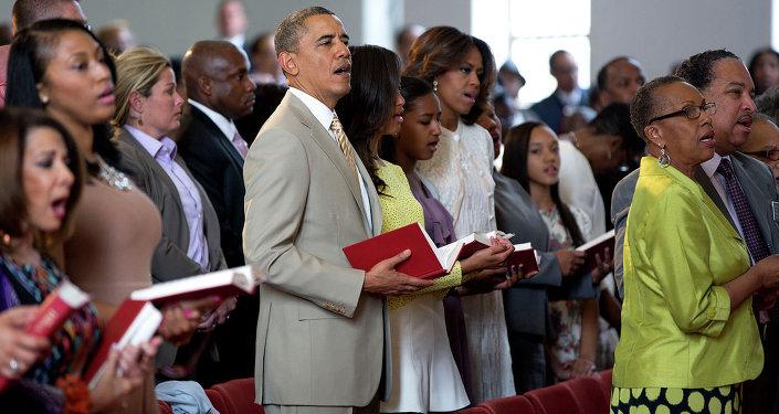 الرئيس الأمريكي باراك أوباما وأسرته