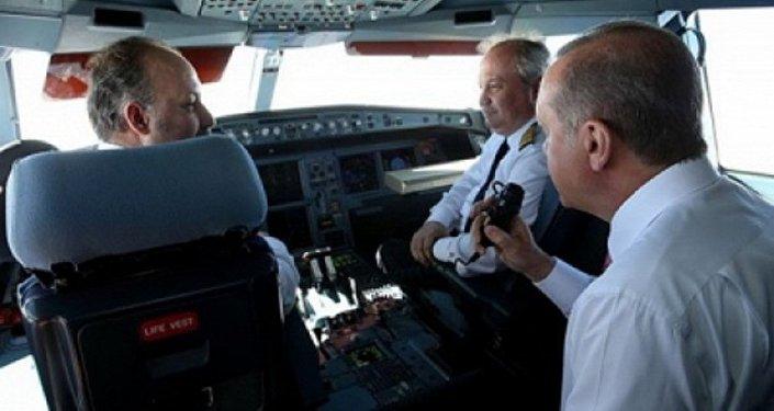 أردوغان في الطائرة
