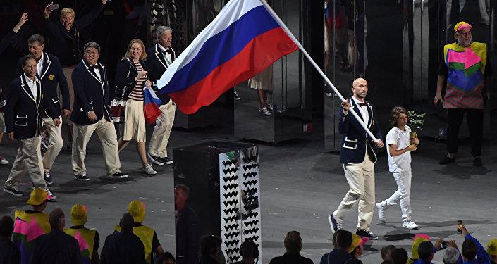 الفريق الروسي في افتتاح أولمبياد ريو دي جانيرو
