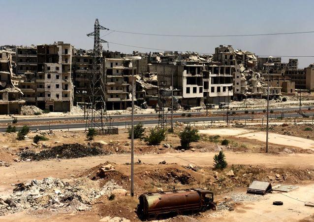 منازل وبيوت مدمرة في حي راموسة بجنوب غرب مدينة حلب