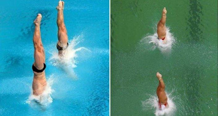 لون مسابح الأولمبياد باللون الأخضر